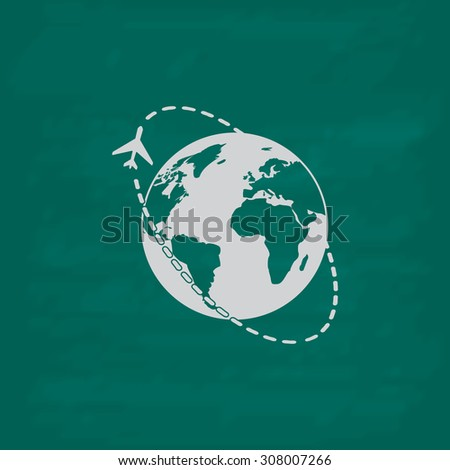 Air travel destination. Icon. Imitation draw with white chalk on green chalkboard. Flat Pictogram and School board background. Vector illustration symbol - stock vector