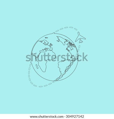 Air travel destination. Simple outline flat vector icon isolated on blue background - stock vector