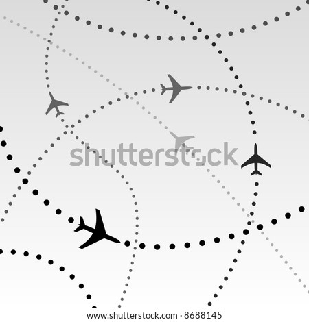 Air travel. Dotted lines are flight paths of commercial airline passenger jet airplanes. Abstract Illustration - stock vector