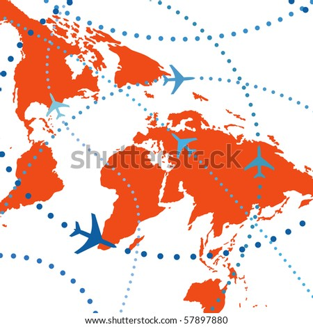 Air travel. Dotted lines are flight paths of commercial airline passenger jets flying in air traffic. - stock vector