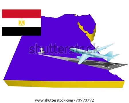 air travel in Egypt - stock vector