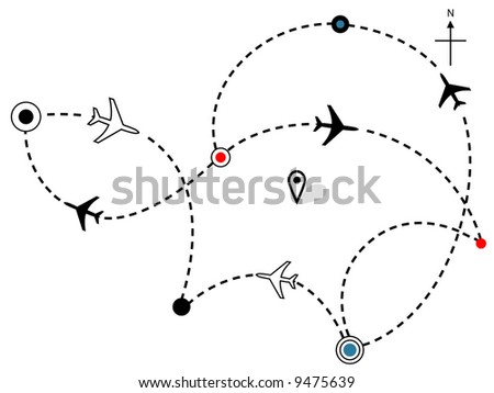 Air travel. Town to city dotted lines are flight paths & travel plans of commercial airline passenger jet airplanes. - stock vector