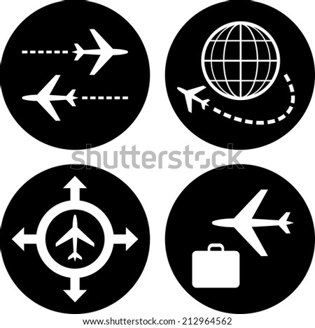 Air travel vector icons - stock vector