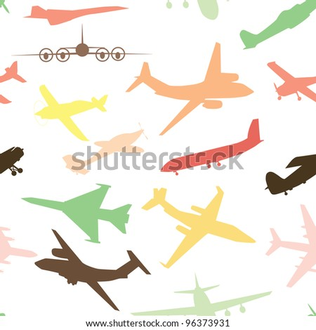 Aircraft, airplane, plane flying vector seamless travel transport background . - stock vector