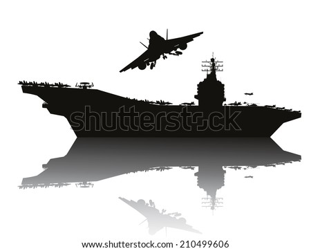 Aircraft carrier and flying aircraft detailed silhouettes. Vector EPS10 - stock vector