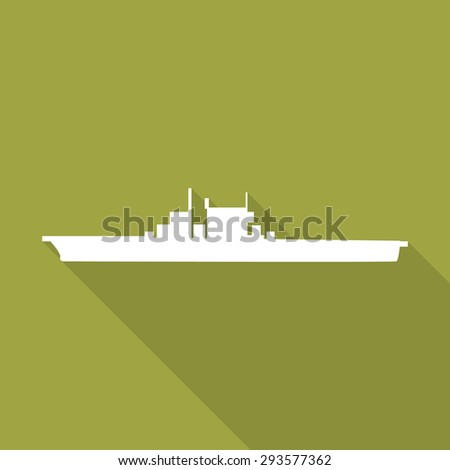 Aircraft carrier flat icon with long shadow. - stock vector