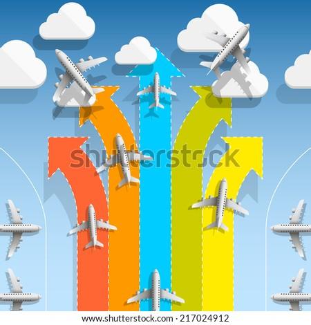Aircraft flights infographics. Vector illustration - stock vector