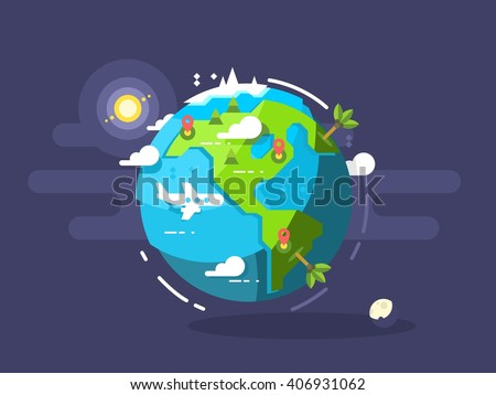 Aircraft flying around the world - stock vector