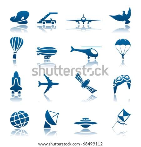 Aircraft icon set - stock vector