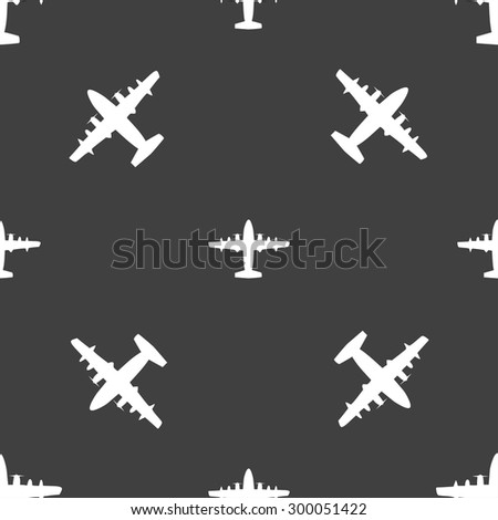 aircraft icon sign. Seamless pattern on a gray background. Vector illustration - stock vector