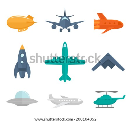 Aircraft icons flat set of zeppelin aircraft war fighter isolated vector illustration - stock vector