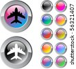 Aircraft multicolor glossy round web buttons. - stock vector