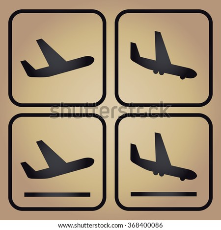 Aircraft or Airplane, Arrivals Departure pictograms, gold background - stock vector