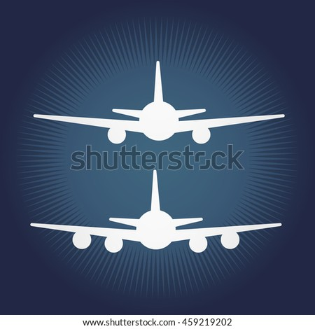 Aircraft or Airplane Icon, Flat Minimal Vector Silhouette.