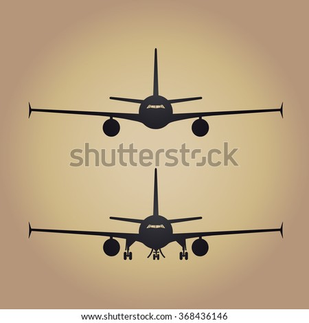 Aircraft or Airplane Icon, Flat Minimal Vector Silhouette on gold background