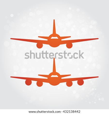 Aircraft or Airplane Icon, Flat Minimal Vector Silhouette on white background - stock vector