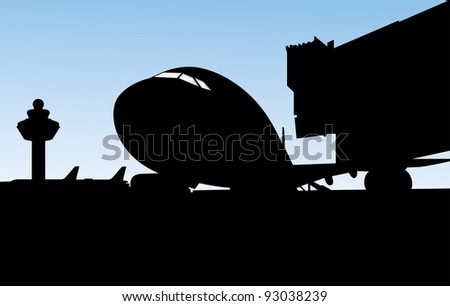 aircraft parked at the airport preparing to take off - stock vector