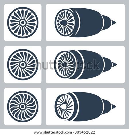 Aircraft turbines vector icon set - stock vector