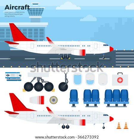 Aircraft vector flat illustrations. Modern airplane standing on the airfield. Emblem for airlines banners. Aircraft, seats, wheels, windows, tickets isolated on white background - stock vector