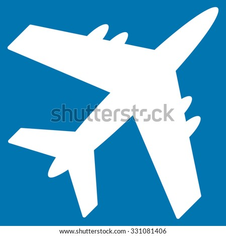 Aircraft vector icon. Style is flat white symbol, rounded angles, blue background.