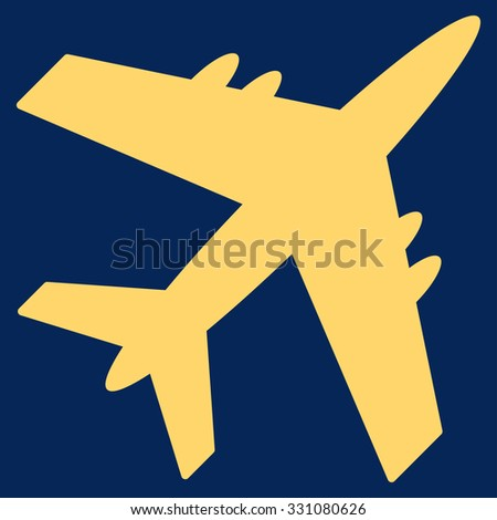 Aircraft vector icon. Style is flat yellow symbol, rounded angles, blue background.