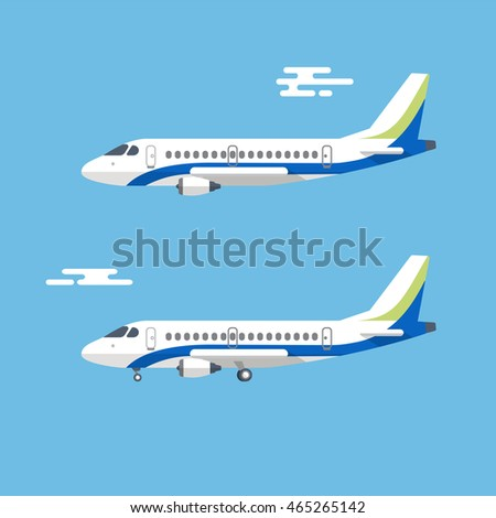 Aircraft with wide wings is flying in blue cloudy sky. Colorful flat vector illustration.