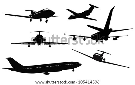 Aircrafts vector detailed silhouettes set. Separate layers. eps8 - stock vector
