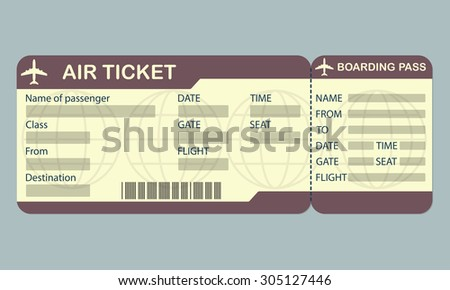 Airline boarding pass ticket template. Detailed blank of airplane ticket. Vector illustration. - stock vector