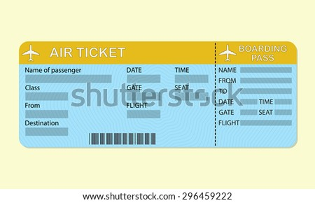 Airline boarding pass ticket. Travel concept. Detailed blank of airplane ticket. Colorful vector illustration.  - stock vector