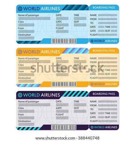 Airline Plane Ticket Set Boarding Pass Vector 388440748 – Airplane Ticket Template