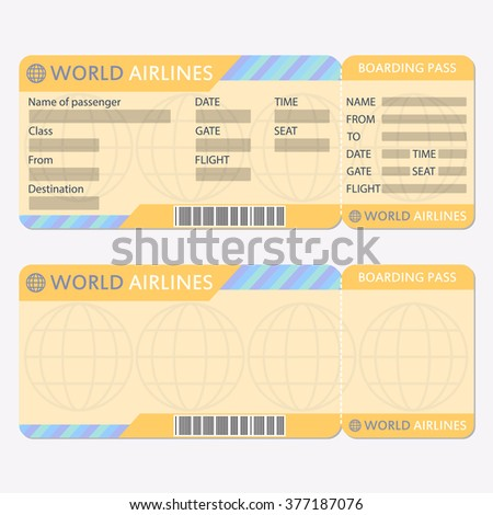 Airline Plane Ticket Template Boarding Pass Vector 370260383 – Plane Ticket Template