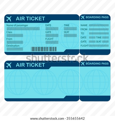 Airline Plane Ticket Template Boarding Pass Stock Vector