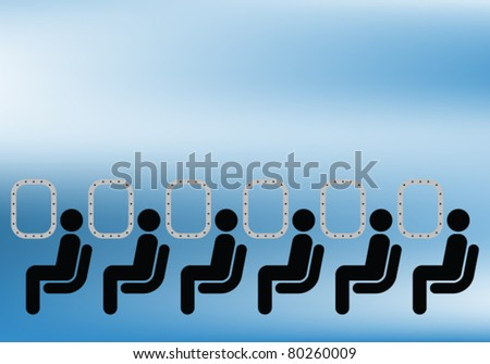 Airline passengers seated on a plane against blue sky - stock vector