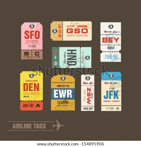 Airline tags. Checklist for Travelers. Vector - stock vector