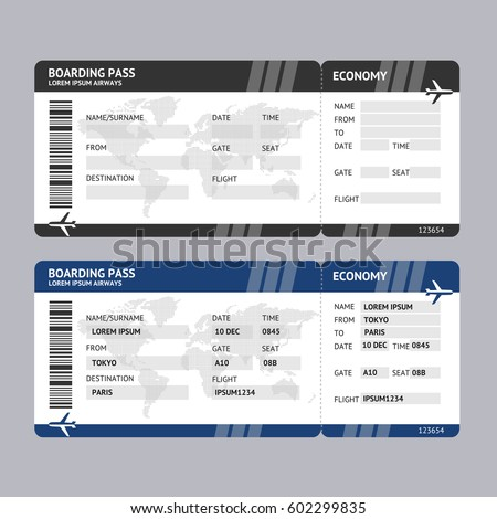Airline Ticket Boarding Pass Blank Template And With Data For Travel  Tourism. Vector Illustration  Blank Printable Tickets