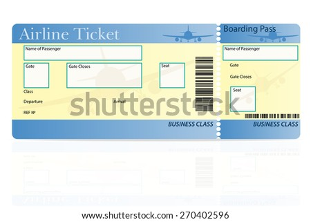 airline ticket business class vector illustration isolated on white background - stock vector