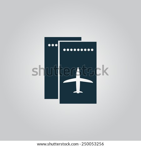 Airline ticket. Flat web icon, sign or button isolated on grey background. Collection modern trend concept design style vector illustration symbol - stock vector