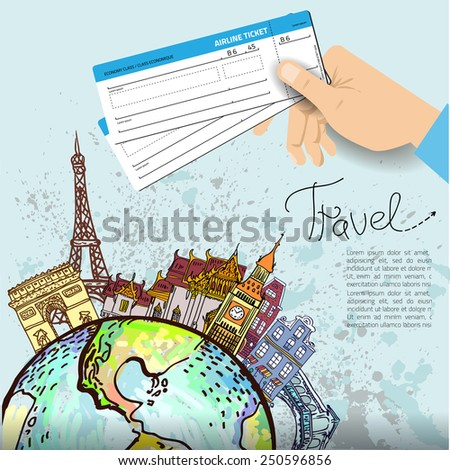 Airline ticket. Travel background.  All elements and textures are individual objects. Vector illustration scale to any size. - stock vector