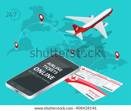 Airline tickets online. Buying or booking Airline tickets. Travel, business flights worldwide. Online app for tickets order. Internation  flights. Flat 3d isometric vector illustration. Boarding pass - stock vector