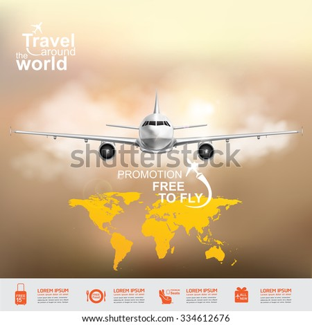 Airline Vector Concept Travel around the World - stock vector