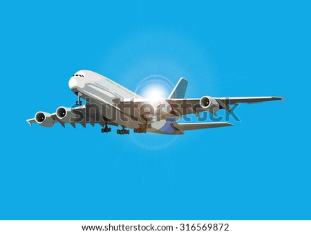 Airliner flying against the sun, vector illustration, sunlight on separate layer - stock vector