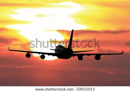 airliner flying into a sunset - stock vector