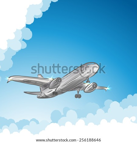Airliner in sky, vector illustration for your design, eps10 4 layers easy editable - stock vector