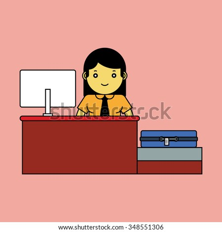 Airlines clerk ready to assisting customer, Cartoon vector illustration.