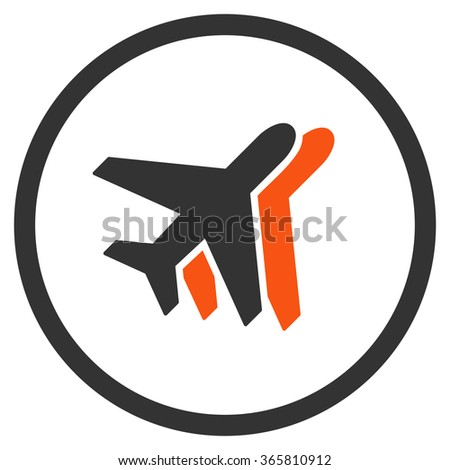 Airlines vector icon. Style is bicolor flat circled symbol, orange and gray colors, rounded angles, white background.