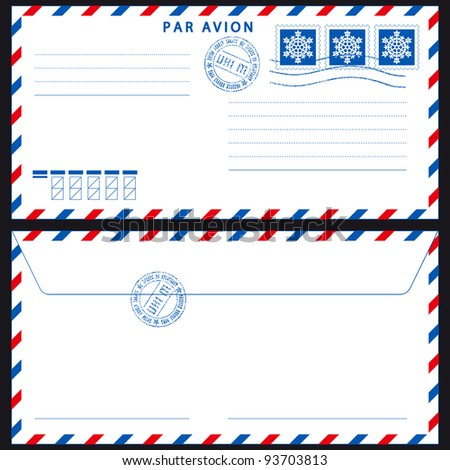 Airmail envelope with stamps on black - stock vector