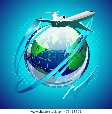 airplain in front of the globe - stock vector