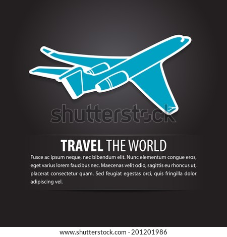 Airplane air fly sky blue travel background  - stock vector