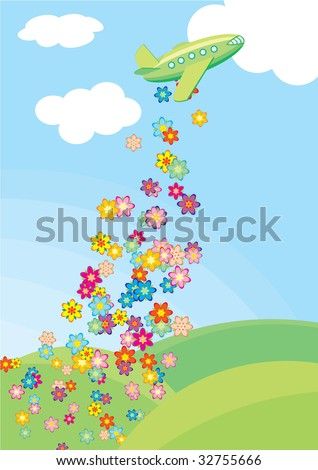 airplane and flowers - stock vector
