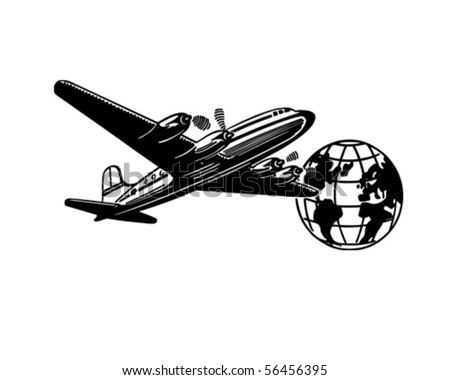 Airplane And Globe - Retro Clip Art - stock vector